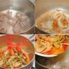 Sườn non chặt khúc nhỏ rửa sạch, chần qua nước sôi. Rửa lại bằng nước sạch rồi cho vào nồi nấu chín với 1.2 lít nước. Phi thơm đầu hành lá băm với 1 muỗng canh dầu ăn, cho hành tây, cà chua, dưa cải vào xào chín. Sau đó cho vào nồi sườn non đang nấu.
