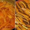 Trộn đường với nước cam rồi cho vỏ cam vào ngâm trong 1 giờ. Sau đó, cho phần hỗn hợp vỏ cam và đường vào nồi, đun nhỏ lửa đến khi miếng vỏ cam trong lại và nước đường hơi sền sệt là được.