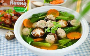 Canh cải bẹ xanh nấm hương nhồi thịt