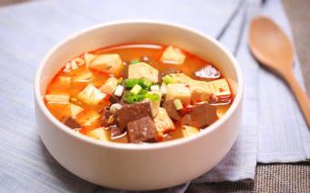Canh tiết nấu đậu hũ