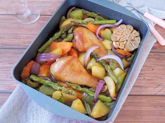 Đùi gà nướng rau củ