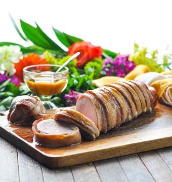 Thịt xông khói cuộn thịt heo nướng