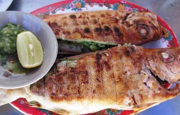 Cá bã trầu nướng muối ớt