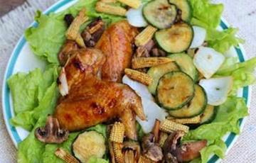Cánh gà nướng rau củ