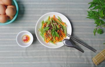 Đậu que cà rốt xào thịt bằm