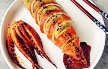 Mực nhồi khoai tây nướng