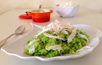 Nấu xôi lá dứa bằng nồi cơm điện