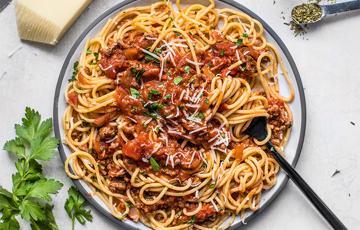 Spaghetti sốt thit bò bắm