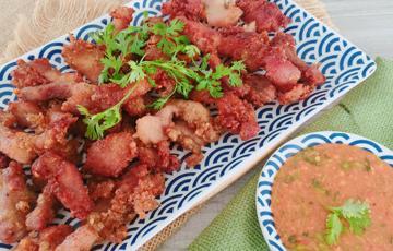 Thịt heo chiên giòn muối ớt tôm