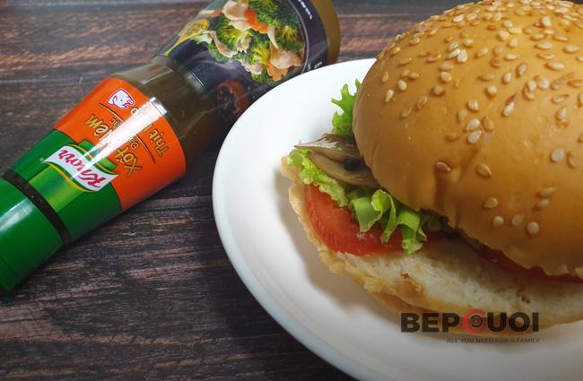 Burger nấm đùi gà