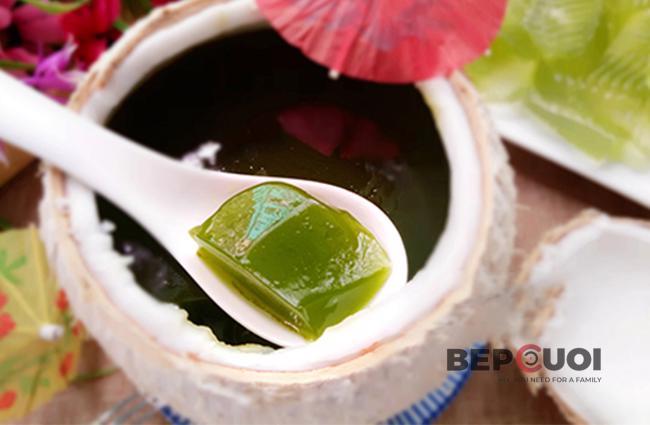 Rau câu trái dừa trà xanh