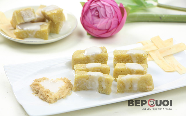 Cách làm bánh khoai lang trộn dừa hấp bằng khuôn chả lụa